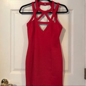 Toni red mini dress bodycon cutout strappy